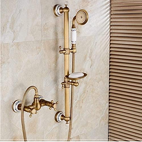 Ducha de mano clásico bronce antiguo grifo de la ducha con barra de empuje con soporte de jabón baño lluvia grifo de ducha conjunto 8306Q 2-8306b-2