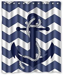 KXMDXA Special Amazing Chevron Anchor Pattern Print with Navy Blue Chevron Zig Zag Waterproof Polyester Bath Shower Curtain Size 66x72 Inch