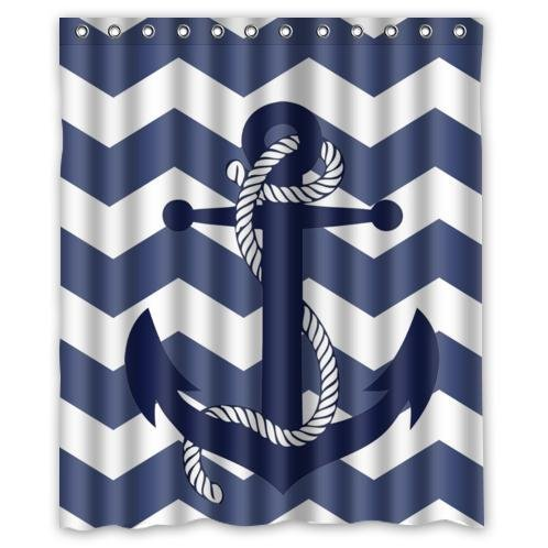 KXMDXA Special Amazing Chevron Anchor Pattern Print with Navy Blue Chevron Zig Zag Waterproof Polyester Bath Shower Curtain Size 66x72 Inch