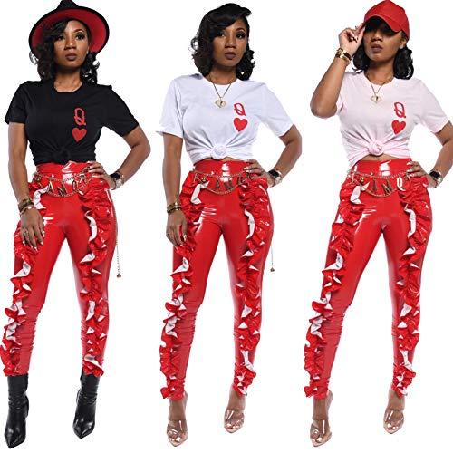 AILINSHA Frauen Leggings Lederhose, nasse Look Mode Damen Push Up Hintern Falten PU Legging Hose Leder Hose red-XL