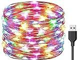 Exporee 20m Luces LED de Cadena 200 Leds USB Powered, Luces de Alambre de Cobre de Hadas Impermeables para Valla Patio Jardín Árbol Fiesta de Navidad Boda, Vistoso