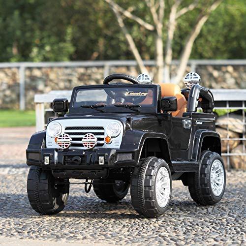 TOBBI Kids Ride on Truck 12V Battery Powered Electric Car W/Remote Control Black