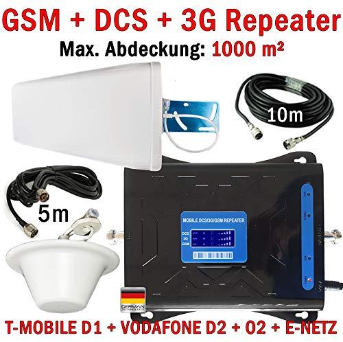 GSM + DCS + 3G Repeater mobiele telefoon versterker voor alles! Telefonie en 3G internetversterking van alle netwerken: T-Mobile D1 Vodafone D2 O2 E-netwerk (900 + 1800 + 2100 MHz) - tot 1000 m2 + buiten- en binnenantenne