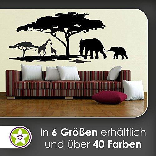 hauptsachebeklebt KIWISTAR Afrika Motiv Giraffen u. Elefanten Wandtattoo in 6 Größen - Wandaufkleber Wall Sticker