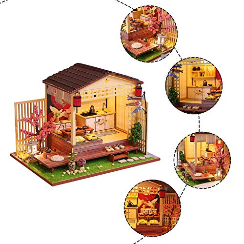 rosemaryrose Casas De Muñecas Casa De Muñecas Madera Kit De Casa De Muñecas De Bricolaje Ensamblado Casa De Flores De Cerezo Cabaña De Estilo Japonés -para Navidad Cumpleaños Regalo De San Valentín