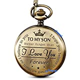 Bronze Engraved Pocket Watch to Son I Love You Gifts from a Mom Dad Birthday Gift Fob Watches Chains