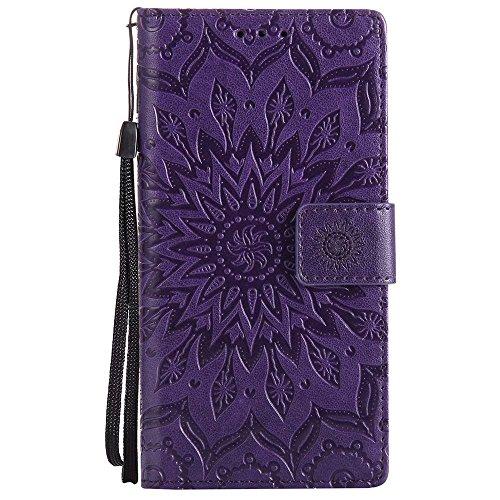 Coque Nokia 3, Dfly [Datura Fleurs de Motif] [Stand de Portefeuille] [Fermeture Magnétique] Protecteur Coque Ultra Mince Premium PU Cuir Etui Carte Fente Housse de Protection pour Nokia 3, Violet