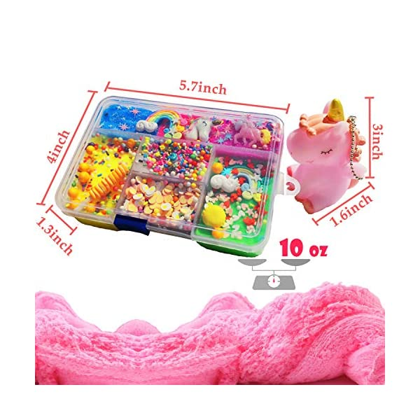 Unicorn Slime Kit for Girls to DIY Cloud Slime Kit Supplies Stuff Include 7 Colors Cloud Slime, Unicorn Toys, Colorful Foam Balls, Candy Cakes, Fruit Slices, Stars, Rainbow, Milk Bottle, Glitter Pack. 5