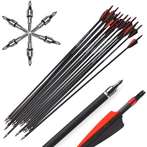 Milaem 12pcs 30 Zoll Carbon Pfeil Spine 400 Jagdpfeile mit 100 Korn Ersatz Broadhead Kohlenstoffpfeile für Compound und Recurve Bogen Bogenschießen Jagd