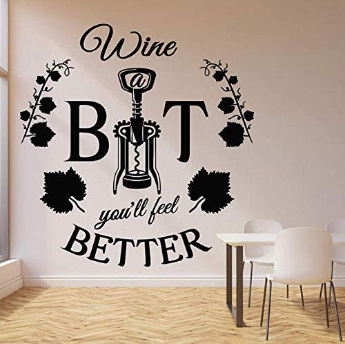 Muurtattoo Better Words Muursticker wijn flesopener wijnopener schroef citaat restaurant bar interieur decor sticker voor venster vinyl muursticker 42 x 43 cm