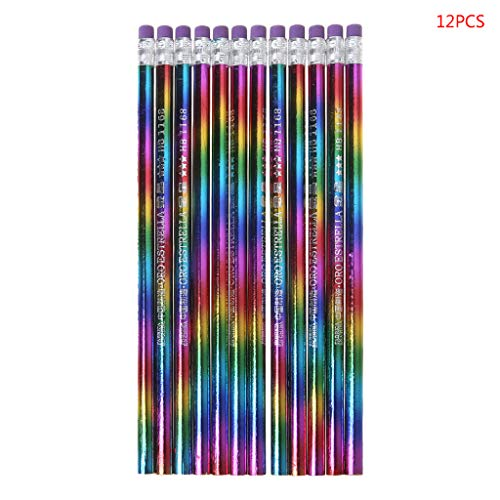 12 Stück Regenbogen-Bleistifte Holz Umweltschutz helle Farbe, HB Zeichenstifte, Schule Büro Schreibstift, Hb Bleistifte mit Radiergummi