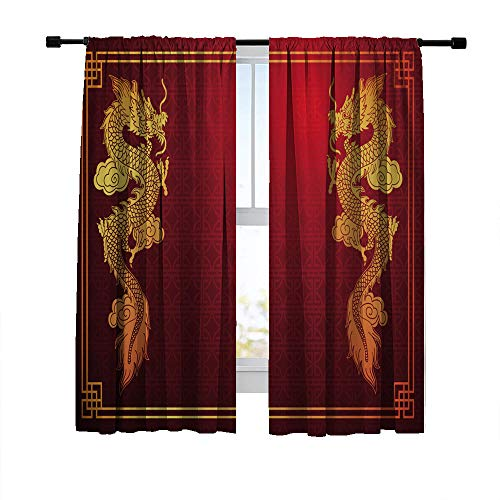 Miblor Blackout Curtains for Bedroom Living Room, Chinese Traditional Image with Chinese Dragon on Red Background, Room Darkening Window Curtains Print Window Drapes 42W x 63L Inches, 2 Panels