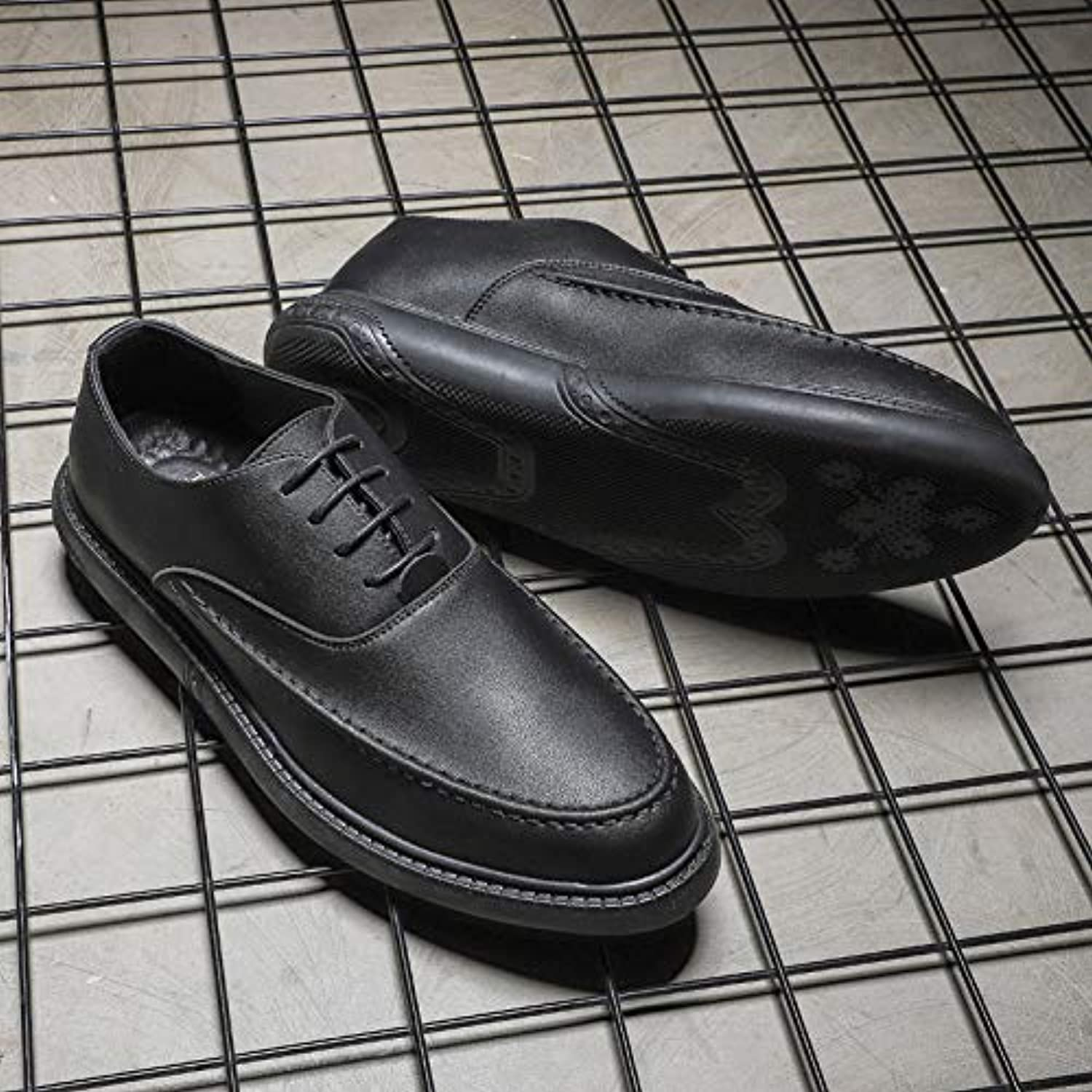 LOVDRAM Men'S Leather shoes Spring New Men'S shoes Korean Casual Wild Single shoes Summer Breathable Men'S Black shoes