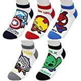 Superheld Charakter Knöchel Socken 5 Paaren - Kapitän Amerika, Iron Man, Spider Man, Thor, Hulk Sneakersocken