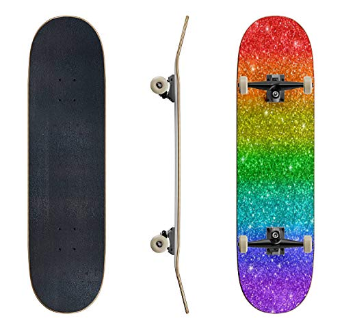 EFTOWEL Skateboards Rainbow Glitter Texture Glitter Background Stock Illustrations Classic Concave Skateboard Cool Stuff Teen Gifts Longboard Extreme Sports for Beginners and Professionals