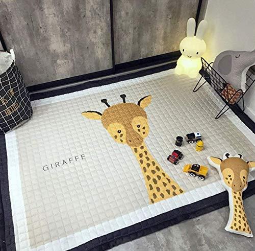 Marbeine Tapis de Jeu Epais Bébé Grand Dessinée Tapis de Sol en Coton Doux Lavables Antidérapant pour Décoration de Chambre Enfant 1.45 * 1.95M (Girafe)