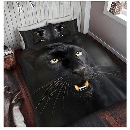 Gaveno Cavailia Superweiche Kunstfell-Fleece-Decke, Tagesdecke, 3D Tierdruck, Bär, Polyester, Black Panther, 200x240 cm