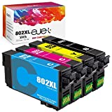 ejet Remanufactured Ink Cartridge Replacement for Epson 802XL 802 T802XL T802 to use with Workforce Pro WF-4720 WF-4730 WF-4734 WF-4740 EC-4020 Printer (1 Black, 1 Cyan, 1 Magenta, 1 Yellow, 4-Pack)