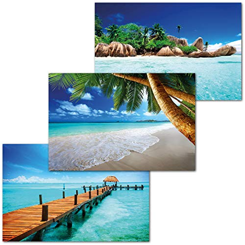 GREAT ART 3er Set XXL Poster – Urlaub Traumorte – Palmen Strand Seychellen Steg ins Meer Ozean Karibik Motiv Urlaub Wand Dekor Inneneinrichtung Wandbild Plakate je 140 x 100 cm
