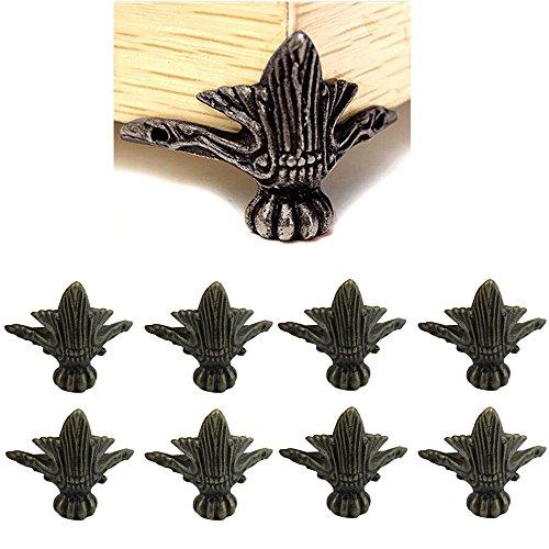 Paquete de 8 esquinas de bronce de aleación de zinc antigua