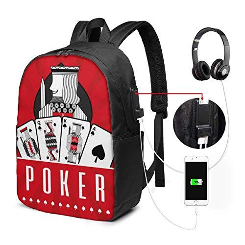 Lawenp Langlebige Gepäckrucksäcke Kartenspiel Casino Poker King Spade Red Rays für Business Work School mit USB 17In