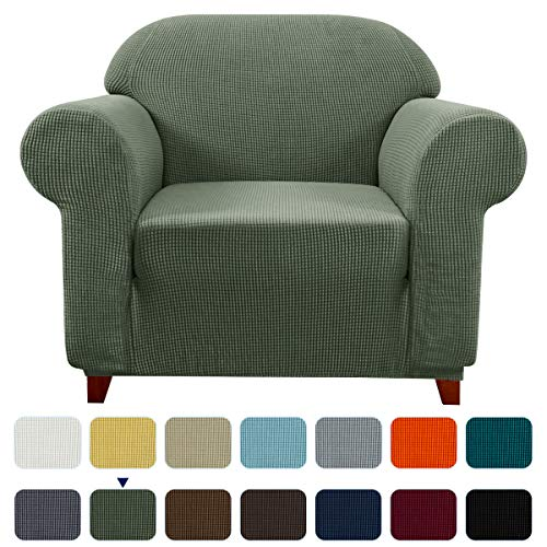 Subrtex Jacquard - Funda de sofá de tela de poliéster para sofá, sillón, reclinable, protector antideslizante para muebles, verde oliva, 1 Seater