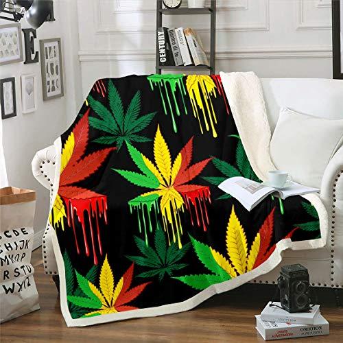 Loussiesd Marihuana hoja Sherpa manta de hojas de cannabis manta de marihuana hoja de marihuana manta de forro polar para sofá cama hombres decoración colorido patrón de hojas de bebé 30 x 40 pulgadas