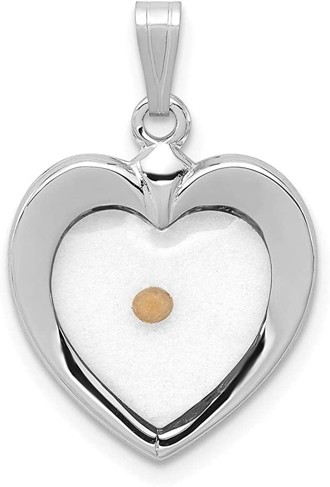 Free Shipping Cheap Bargain Gift 925 Max 72% OFF Sterling Silver Large Heart Seed Charm Pendant Neckl Mustard