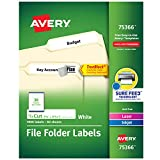 Avery TrueBlock File Folder Labels, Sure Feed Technology, Permanent Adhesive, White, 2/3' x 3-7/16', 1,800 Labels (75366)