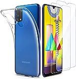 iLiebe Hülle für Samsung Galaxy M31 & Panzerglas, [ 1 Handyhülle + 2 Schutzfolie] 9H Bildschirmschutzfolie & Dünne Transparent Weiche TPU Schutzhülle für M31- Klar