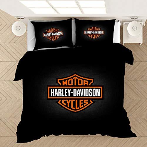 YMYGYR 3D-Druck Harley Bettwäsche mit Musterdruck, Bettbezug und Kissenbezug, weiche und Bequeme Druckbettwäsche für alle Arten von Menschen-L_150 x 200 cm (3 Stück)