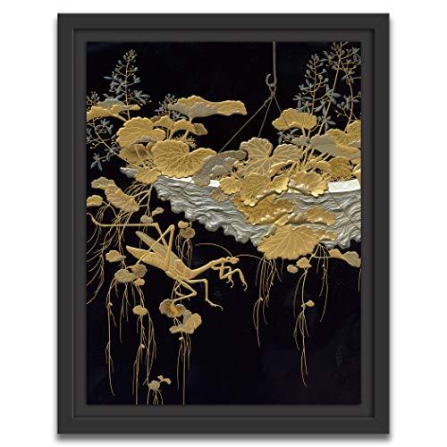 Printed Paintings Marco Americano (60x80cm): Periodo Meiji - Shikishi (Papel de caligrafía Cuadrada) Caja con diseño de Flores y Mantis Religiosa