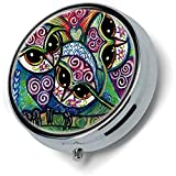 Rainbow Owl Custom New Fashion Pill Box Holder Funda de acero inoxidable Bolsillo o monedero - De Yesir Man Gift