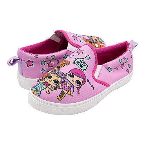 L.O.L. Surprise! Girls Slip-On Canvas Sneaker; Pink Size 13