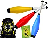 Juggle Dream Trainer Jonglierkeulen 3er-Set (Blau/Rot/Gelb) Jonglier Keulen Training Set + Mr...