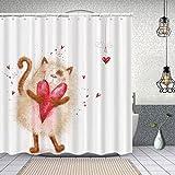 Cortina de Baño con 12 Ganchos,Amor Gato con corazón Enamorado Día de San Valentín Luna de Miel Sonrisa Alegres vítores,Cortina Ducha Tela Resistente al Agua para baño,bañera 150X180cm