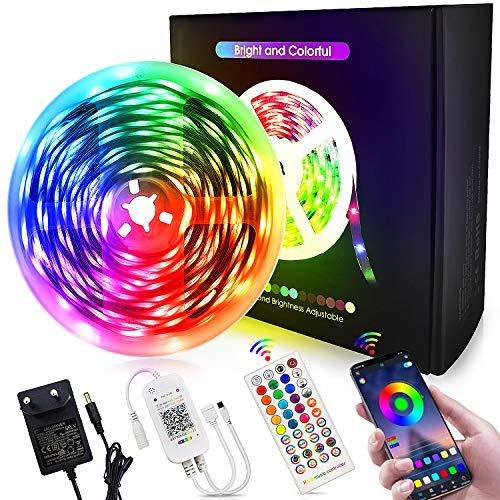 Bluetooth LED Streifen 10m Masqudo 5050 RGB LED Strip mit 40K Fernbedienung & App Bluetooth Kontroller LED Lichtband mit 12V Netzteil für Party Schlafzimmer TV
