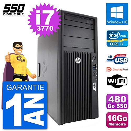 HP PC Tower Z220 Intel Core i7-3770 RAM 16 GB SSD 480Go Windows 10 WiFi (Generalüberholt)