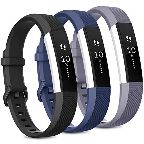 Pack 3 Replacement Band Compatible for Fitbit Alta Bands/Fitbit Alta HR Bands, Adjustable Replacement Soft Silicone Sport Bands for Woman and Men (Small, Black+Grey+Navy Blue)