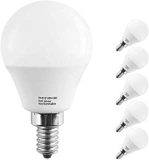 LAKES E12 LED Bulbs, 5W Led Candelabra Bulb, 40W Incandescent Equivalent, 450lm, Warm White 3000K, G14 Globe Bulbs for Ceiling Fan, Chandelier Bulb,Pack of 6