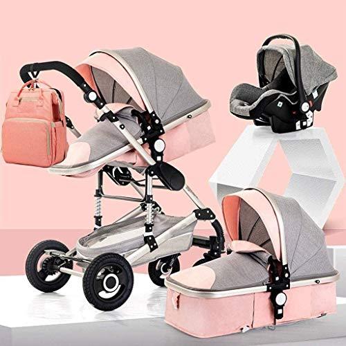 YZPTD 3 en 1 Cochecito Plegable carruaje de Lujo Baby Stroller Springs de absorción de Choque Vistas Altas Cochecito de bebé con Canasta de bebé y Mochila de Bolsa de Mami (Color : A)