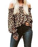 ZANZEA Camisetas Mangas Largas Hombros Descubiertos Sexy Blusas Estampado Leopardo Blusa Suelta...