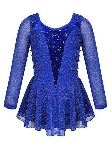 iixpin Eiskunstlauf Kleid Mädchen Langarm Rollschuhkleid Glitzer Tanzkleid Ballettkleid mit Tutu Rock Ballett Trikot Leotard Wettbewerb Kostüm Blau 146-152