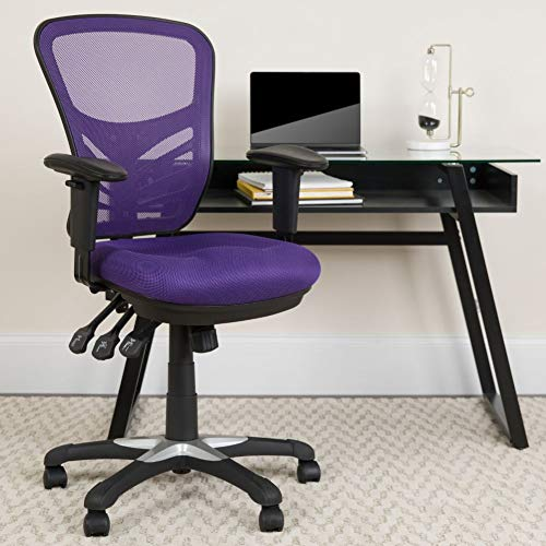 Flash Furniture Mid-Back Purple Mesh Multifunction Executive Swivel Ergonomic Office Chair with Adjustable Arms, BIFMA Certified