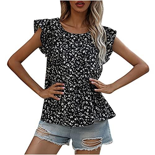 AMhomely Camisas y blusas para mujer con estampado de manga corta de cinco puntos, diseño floral, talla de túnica