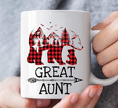 Cuadros Rojos Gran tía Oso Amigo a Juego Familia Búfalo Celebración de cumpleaños Taza de cerámica Personalizada Tazas de café gráficas Tazas Negras Tapas de té Novedad Personalizada 11 oz