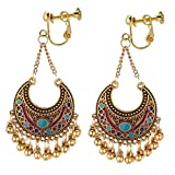 Vintage Crescent Moon Clip on Earrings Long Bells Tassel Dangle Gold Plated Jewelry for Women Non-pierced