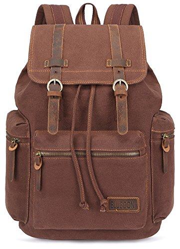 BLUBOON Canvas Vintage Backpack Leather Trim Casual Bookbag Men Rucksack (Coffee)