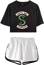 OLIPHEE dames korte mouwen T-shirts + korte broek sets sport streetwear kleding set met Riverdale Southside Serpents Print