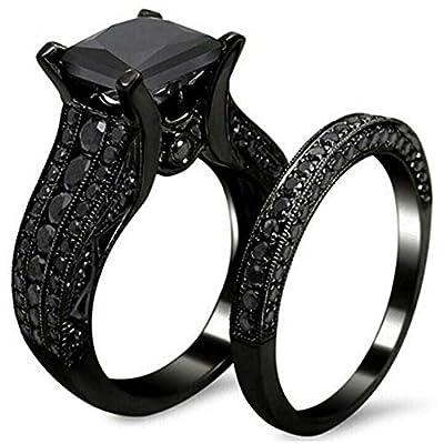 Jude Jewelers Black Princess Cut Two-in-One Wedding Engagement Proposal Anniversary Bridal Ring Set (Black, 5)